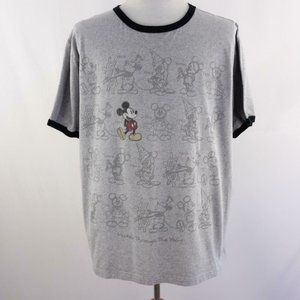 Disney Mickey Mouse Gray Graphic T Shirt